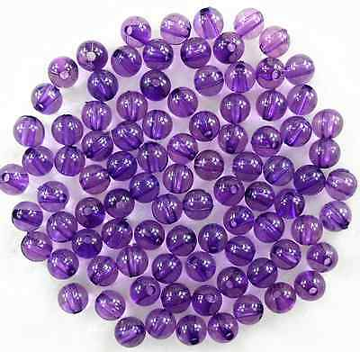 100Pcs Transparent Purple  Acrylic Round Spacer Loose Beads 8mm