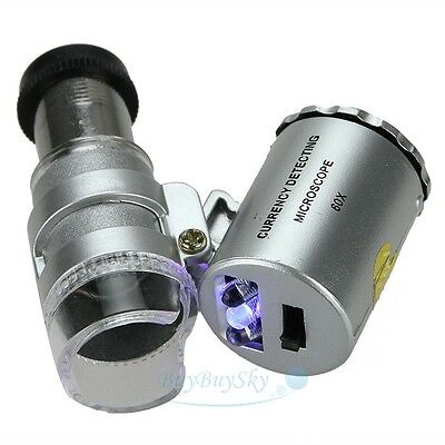 Mini 60X magnification LED Pocket Microscope Jeweler Magnifier Glass Loupe