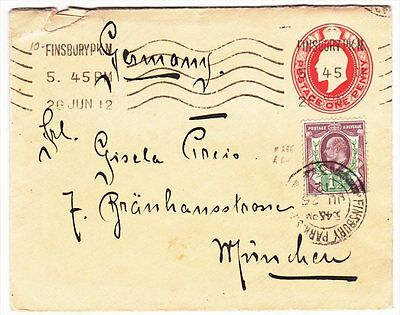 Great Britain Finsbury to Germany Munich 1912 Uprated Commercial cover