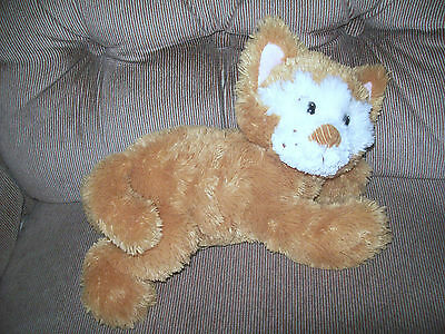 "Russ Berrie CALLIE Cat 12"" Golden Brown & White Feather Fur Plush Corduroy Nose"