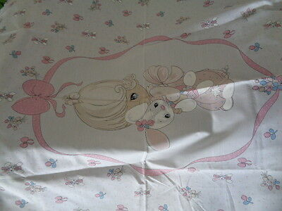 1 Yard Vintage Precious Moments Cotton Quilt Top Fabric Rabbit Bunny Flower Bow