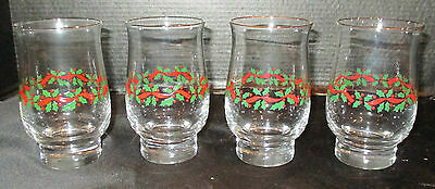 Arby Long John Silver's Christmas Holly Berry Holiday Water Glasses Set of 4