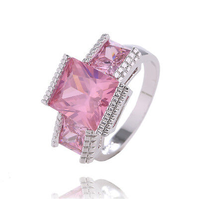 1pc 925 Sterling Silver Square Pink Cubic Zirconia  Brilliant  Ring Size 7