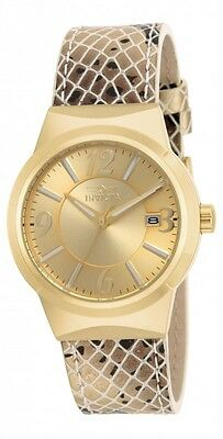 Invicta Womens 17296 Angel Gold Dial 18KT GP Snake Pattern Leather Strap Watch