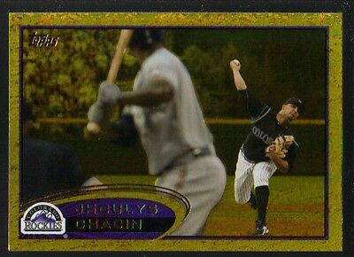 2012 Topps Series 1 Gold #45 Jhoulys Chacin Rockies Golden Moments Foil Parallel