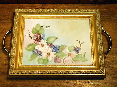 Beautiful Contemporary Vanity Tray w/ Floral Watercolor Painting Inside - Blair