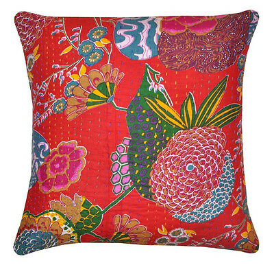 """16"""" INDIAN RED COTTON THROW PILLOW CUSHION COVER Ethnic Vintage Decor Art2555"""