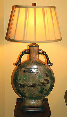 FREDERICK COOPER VINTAGE ORIENTAL TABLE LAMP,FLORAL PATTERN, EARTH TONES, NICE!!
