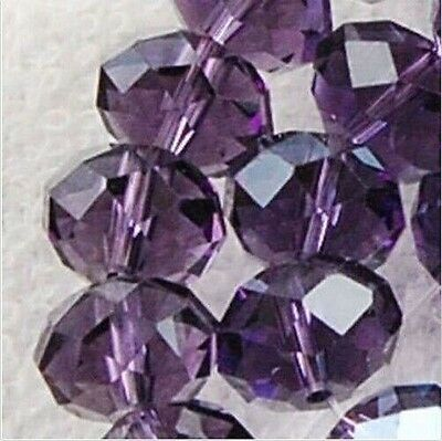 new!3x4mm Purple Crystal Faceted Abacus Loose Beads 100pcs