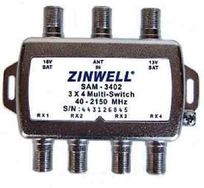 Lot of Two (2) New in the Box DirecTV FTA Zinwell 3X4 Multi-Switch Direct TV