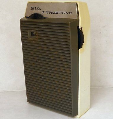Old Truetone Six 6 Transistor Pocket Radio, with leather case, vtg Made in JAPAN