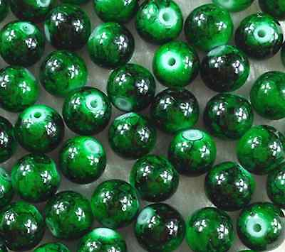 50Pcs 8mm Dark Green Lampwork Glass Round Spacer Loose Beads   W46