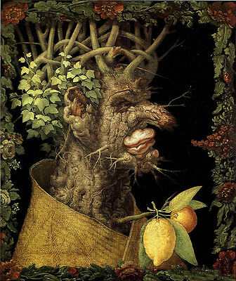 100% Handpainted Oil panting Giuseppe Arcimboldo - The Winter man made of wood