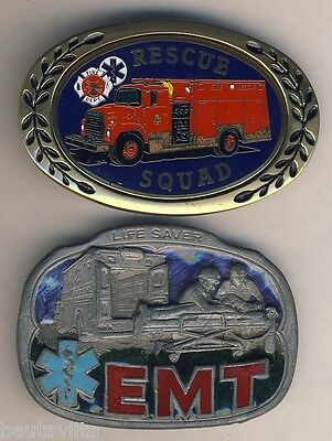 Fire Emergency Rescue Squad Belt Buckle + Emergency EMT Buckle, Ambulance