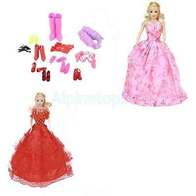 Princess Clothes 2 Pink and Red Dress Gown 1 Bag+11 Pairs Shoes for Barbie Doll