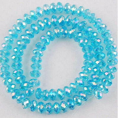 Wholesale Crystal Faceted Rondelle Loose Beads Glass Spacer 6mm(98pc)AB Sky Blue