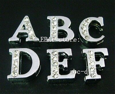 130pcs 8mm A-Z half rhinestone Slide letters charms Fit Band pet collar