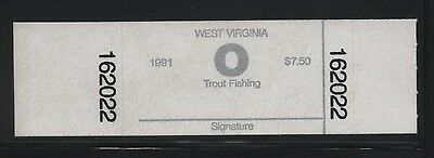 "1991 West Virginia State Revenue Trout Stamp  --   $7.50 Code ""O"" Self Adhesive"