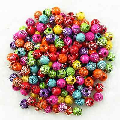 200Pcs 6mm Mixed Color Acrylic Rose Flower Spacer Loose Beads