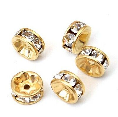 20pcs 12mm Round Gold Plated Crystal Rhinestone Spacer Beads