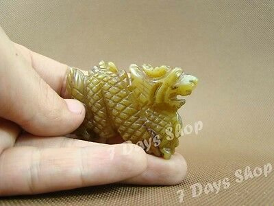 Antique Old Jade Carved Traditional Chinese Zodiac Dragon Statue Pendant G108
