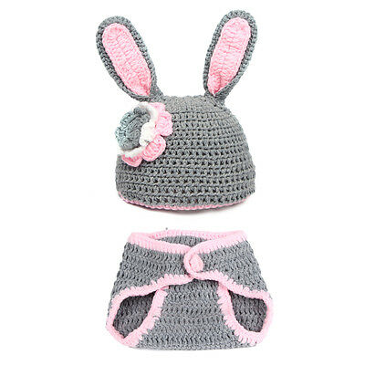 Baby Infant Toddler Costume Knit Photography Prop Rabbit Crochet Beanie Hat Set