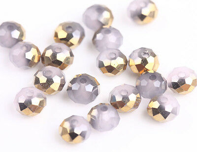 100Pcs Half Gold Half Light Pink Acrylic Spacer Charms Beads Jewelry Making 6mm