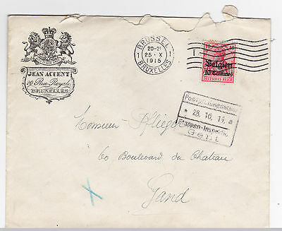 Belgium German Occupatoin Jean Accent 1915 Advertising Cover to Gande