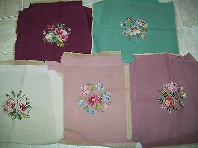 Antique vintage needlepoint chair covers.  Lot of 5 covers assorted colors