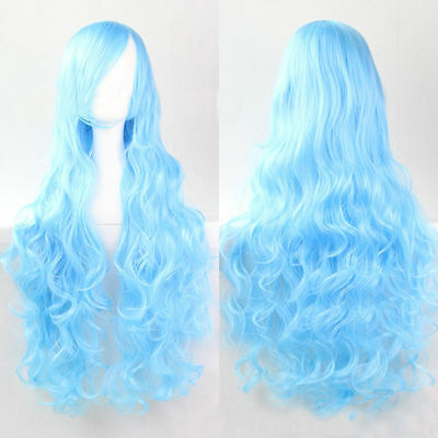 Womens Fashion Europe Long Curly 80cm Wavy Wig Wigs Cosplay Party Water Blue