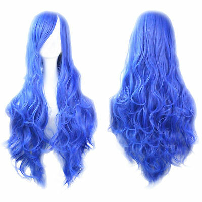 Womens Fashion Europe Long Curly 80cm Wavy Wig Wigs Cosplay Party Sapphire blue