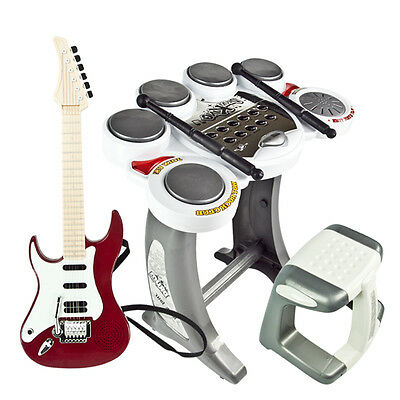 Red Guitar Rock Band Toy Drum Electronic Set Pad Kids Musical Boy Girl Music