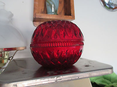 Vintage Ruby Red Flash Fairy Candle Night Lamp Light