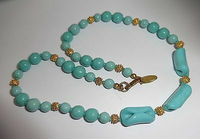 """VINTAGE SIGNED MIRIAM HASKELL GOLD TONE & TURQUOISE BLUE GLASS 16"""" NECKLACE"""
