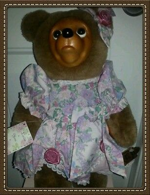 "Robert Raikes 16"" Sophie Plush Bear Wooden Face  Limited Edition"