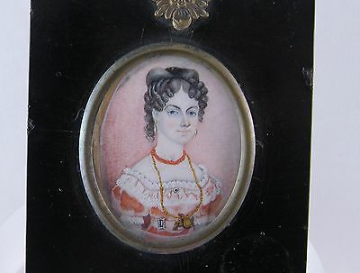 ANTIQUE ENGLISH MINIATURE PORTRAIT WOMAN WEARING CORAL JEWELRY