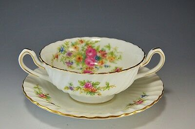 Minton China Lorraine Cream Soup Bowl(s) with Saucers White w/ Floral Design