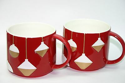 Starbucks Coffee Mug Cup Java 2012 Red White Gold Stacking SET of 2 FREE S&H NEW