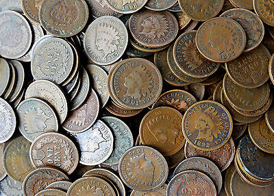 LOT OF TEN - INDIAN HEAD PENNIES 1c CENT MIXED DATES CIRCULATED COINS FULL DATES