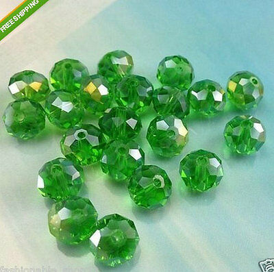 Hot 68pcs grass green ab exquisite 6x8mm rondelle crystal beads