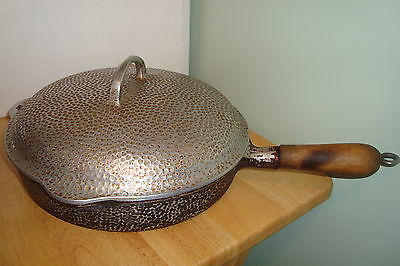 "Griswold No 8 Aluminum 10"" Skillet with Cover & Wood Handle Vintage"