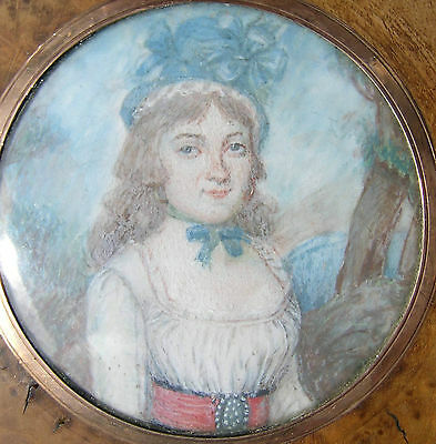 Antique French Portrait Miniature Painting Gold Inner Frame Foliage Hat 1830s