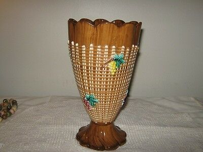 """Raised Grape Basket Weave Footed Vase Italy Numbered 9.5"""" High"""