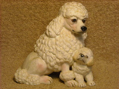 """Enesco Purebred Pets """"Poodle & Puppy"""" Figurine Circa 1985 by Kathy Wise"""