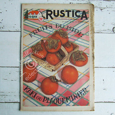 VINTAGE FRENCH HOME & GARDEN MAGAZINE Rustica 1954 - Kaki Persimmon Sharon Fruit