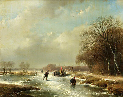 Nice Oil painting Andreas Schelfhout Dutch artist Winter landscape with skaters