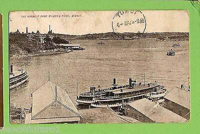 #f.   1909  Shipping  Postcard - Ferry & The Harbour From Milsons Point, Sydney