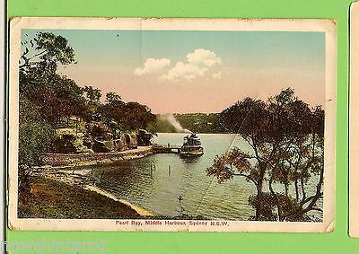 #f.   Shipping  Postcard - Ferry At Pearl Bay, Middle Harbour, Nsw