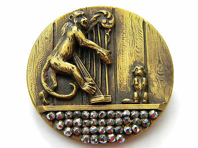 Antique vintage metal button brass picture victorian Monkey playing harp steel