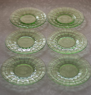 "Anchor Hocking Green Depression Glass Block Optic 6 1/4"" Plate Saucer"